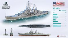 Exceptional anti-air defense is what gave USS Atlanta her nickname in the Premium Shop. World Of Warships Wallpaper, Tank Warfare, Us Battleships, Us Navy Ships, Anime Military, Naval History, World Of Tanks, Military Weapons, Submarines