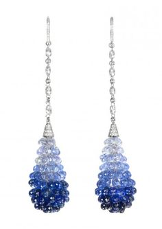 Chopard Classic Collection Copacabana earrings. As the blue night over the famous beach, the briolette sapphires and diamonds sparkle like stars in the sky to the diamond-set lines and surmount.