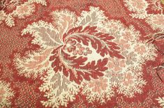 Woven coverlet in red, black, white and pale yellow. Woven in a paisley pattern. Museum Collection, Paisley Pattern, Red Black, Abstract, Yellow, Artwork, Summary, Work Of Art, Auguste Rodin Artwork