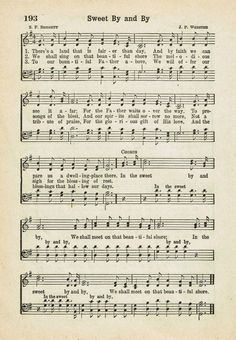 Sweet By and By ~ Printable Antique Hymn Page http://knickoftime.net/