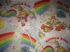 Vintage 1983 Rainbow Brite Twin Size Flat Sheet-Sewing by Heremeow