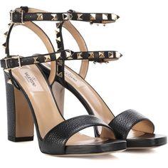 Valentino Valentino Garavani Rockstud Leather Sandals (£740) ❤ liked on Polyvore featuring shoes, sandals, black, kohl shoes, valentino shoes, black leather shoes, valentino sandals and black shoes