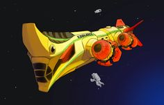 Concept art for the Kinnaree, a Lao space research vessel with a hull inspired by a Nak design. Lao horror and science fiction.