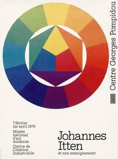 """""""Johannes Itten et son enseignement"""" - 1979 - Conception graphique : Christian Beneyton - Affiche, Œuvre reproduite : Johannes Itten, Farbkreis, 1961 - Type : Image - Source : Archives du Centre Pompidou - Production : © Centre Georges Pompidou, Papier /Cd : 55x75 cm _ #Poster #Affiche #GraphicDesign #Bauhaus"""
