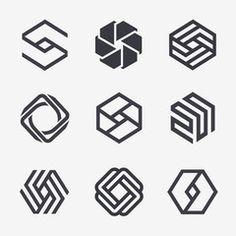Set of vector logo design template.- Set of vector logo design template. Hexagon icons Set of vector logo design template. S Logo Design, Vector Logo Design, Logo Design Template, Sketch Design, Icon Design, Logo Geometric, Geometric Designs, Typographie Logo, Popsicle Stick Crafts