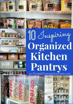 10 Inspiring Organized Kitchen Pantrys on PocketChangeGourmet.com