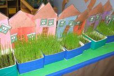 "Creative Art Preschool: RECYCLED CARTON NEIGHBORHOOD, ""GRASS"" HOUSES"
