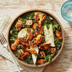 Recipe: Seared Chicken Kale Salad with Pear Sesame-Dijon Dressing - Blue Apron Kale Chicken Salad, Kale Salad, Roasted Carrots, Fresh Fruits And Vegetables, Chicken Seasoning, Mediterranean Recipes, Eating Plans, How To Cook Chicken, Recipes