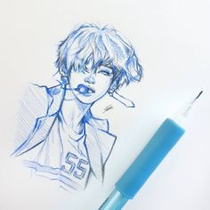 Finally got a new pencil to fit my coloured lead check my story highlights for supplies! Kpop Drawings, Pencil Art Drawings, Drawing Sketches, Fanart Bts, Taehyung Fanart, Bts Taehyung, Art Inspo, Art Reference, Pop Art