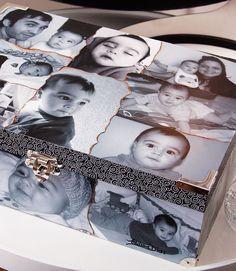 Scrap décor forra caixa com fotos e lembranças / DIY, Craft, Upcycle