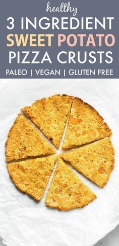 3 Ingredient Sweet Potato Pizza Crusts are a paleo, vegan, gluten free and grain free recipe made in minutes- PERFECT to load your toppings on and freezes beautifully! 3 Ingredient Sweet Potato Pizza Crusts are a paleo, vegan, gluten free and grain Pizza Paleo, Autoimmun Paleo, Vegan Pizza Crusts, Pizza Sans Gluten, Vegan Gluten Free, Gluten Free Recipes, Vegan Recipes, Pizza Pizza, Whole Grain Pizza Crust Recipe