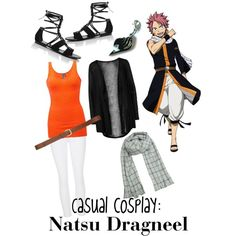 Casual cosplay: Natsu Dragneel by nataleeeeeee on Polyvore featuring ONLY, BKE, J Brand, Tamara Mellon, H&M and anime