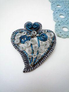wired heart on felt