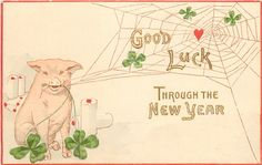 GOOD LUCK THROUGH THE NEW YEAR  pig sits holding spider's web, shamrock leaves