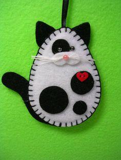 Black & White Cat Ornament, White and Black Cat Ornament, Christmas Ornament, Valentine Gift