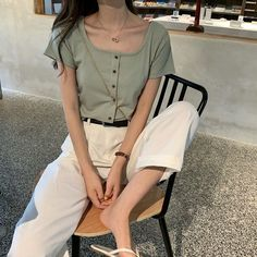 Korean Fashion Dress, Korean Street Fashion, Korea Fashion, Korean Outfits, Fashion Outfits, Casual Asian Fashion, Ulzzang Fashion Summer, Cute Korean Fashion, India Fashion