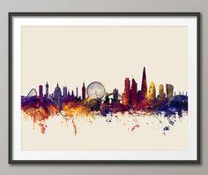Skyline von London England, Kunstdruck    Frame/Matte ist nicht im Preis inbegriffen.  Verfügbare Größen sind im Wählen Sie ein Dropdown-Menü oben die