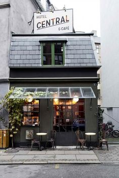 #CafeSociety - Quaint # facade | #grey #cafe - Salt Water Wishes