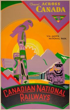 Travel Across Canada Jasper National Park Canadian National Railways 1930s - original vintage travel advertising poster listed on AntikBar.co.uk
