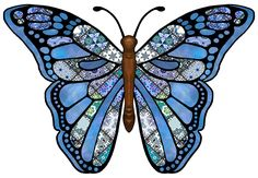 ArtbyJean - Butterflies: Gorgeous Butterfly with blue patchwork patterns mixed with plain blue