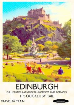COMMERCIALLY PRINTED Coated Art paper An unframed print of Edinburgh Castle Scotland created in the style of a railway advertising poster of Posters Uk, Train Posters, Railway Posters, Scotland Vacation, Scotland Travel, Skye Scotland, Scotland Food, Stirling Scotland, Travel