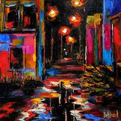 """Daily Painters Abstract Gallery: Cityscape, Landscape ,Street Scene Painting """"Deserted by Texas Artist Debra Hurd"""