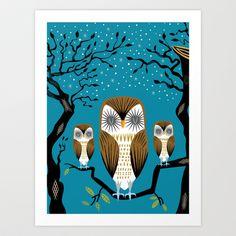 Three Lazy Owls Art Print by Oliver Lake - $15.00 http://society6.com/product/Three-Lazy-Owls_Print#1=45