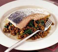 Spicy salmon & lentils - add sliced black olives and red onions too! Bbc Good Food Recipes, Diet Recipes, Cooking Recipes, Healthy Recipes, Cooking Fish, Recipies, Lentil Dahl, Lentil Curry, Veg Stir Fry