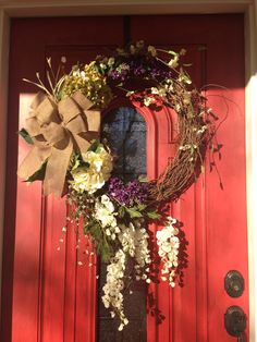 Spring wreath for front door. Can't wait for spring!