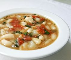 Pressure Cooker White Bean Soup.  Omit oil.
