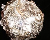 alternative wedding,  brooch  bouquet, bridal brooch bouquet,  bridesmaids bouquet, brooch  bouquet, jewelry bouquet. $124.00, via Etsy.