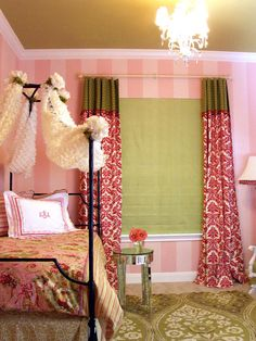 I'M IN LOVE!! Designer Robin Callan created a chic, Paris-style bedroom by creating pint-sized elegance among a playful pink and green color palette. Coordinate fabrics of various textures and patterns to create a look that is both visually appealing and eye-catching. Robin collected fabrics that integrate the same pink and green hues to keep the room from appearing overwhelming or busy.