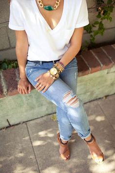 THIS for Argentina! - White t, distressed skinnies, saddle heels + colorful, eclectic jewelry :)