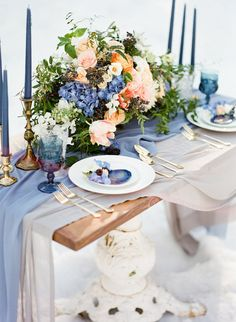 Wintery blues wedding inspiration, Blue wedding tablescape snow wedding mount charleston wedding winter wedding silk fabric gold taper candlesticks vintage dishes farm table snow wedding