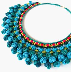 chunky crochet necklaceturquoise statement by Marmotescu on Etsy