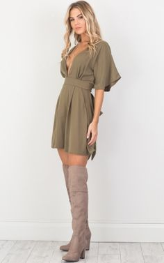 Forbidden dress in khaki
