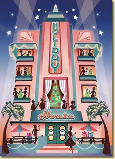 Holiday House Art Deco Style Christmas Card