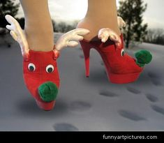 """christmas high heels shoes... BAAAH HA HA!!! Gotta make these!!!  Pair with a tacky Christmas sweater and that cute """"Rudolph nails"""" manicure that's all over Pinterest, and you're ready for a """"tacky Christmas Sweater"""" party!"""