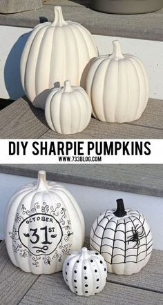 DIY Sharpie Pumpkins Idea - fun Halloween decorations project