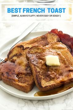 "The best french toast with warm undertones of vanilla, cinnamon and a hint of nutmeg, browned and toasted with soft creamy custard-like insides with no ""eggy"" taste. Just the way french toast should be.  This is the technique I use to get perfect delicious classic style french toast that's not soggy or eggy.  Get the recipe."