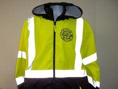 Reflective Fire Rescue Maltese Cross Firefighter Raincoat Windbreaker Jacket