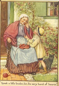 Vintage 1928 Cicely Mary Barker Children's Print Old Lady Sitting Knitting Strains To Hear Young Boy Young Boy Book Plate Book Illustration