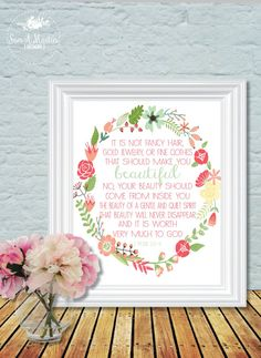 Check out our 1 peter 3 3 4 selection for the very best in unique or custom, handmade pieces from our prints shops. Wall Art Decor, Wall Art Prints, Nursery Decor, Printable Designs, Free Printables, Bible Verse Art, Bible Quotes, My Little Beauty, 1 Peter 3