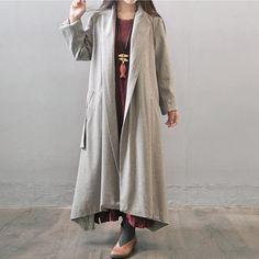 Women winter woolen long sleeve winter long coat