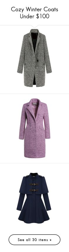 """Cozy Winter Coats Under $100"" by polyvore-editorial ❤ liked on Polyvore featuring under100, wintercoats, outerwear, coats, grey, grey coat, gray coat, gray tweed coat, tweed coat and print coat"