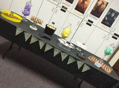 Harry Potter Party Treat Table #pickyourplum #burlapbanner #minichalkboardsigns #roundmetalservingtrays #cakepedestals