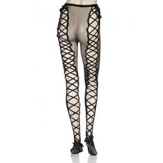 Couture Vixen Marilyn Ladder Back Fishnet Tights ❤ liked on Polyvore featuring intimates, hosiery, tights, sexy hosiery, fishnet pantyhose, lace up tights, sexy stockings and fishnet stockings