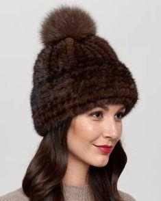 5e7ed5e1 Belle Knit Mink Beanie with Fox Fur Pom Pom in Brown Fur Hat World, Fur
