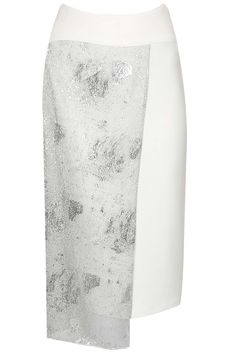 Ivory silver mesh overlay pencil skirt available only at Pernia's Pop-Up Shop. Ethnic Clothes, Ethnic Outfits, I Love Fashion, Indian Fashion, Desi Wear, Skirt Patterns, Pernia Pop Up Shop, Layered Skirt, Professional Outfits