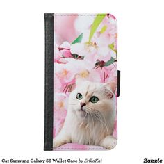 White Cat and Pink Flowers Wallet Case for Samsung Galaxy S4, S5 or S6